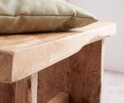 Holzbank Ferda Teakholz Natur 80x40 cm Massivholz Unikat Handarbeit Sitzbank [12310]