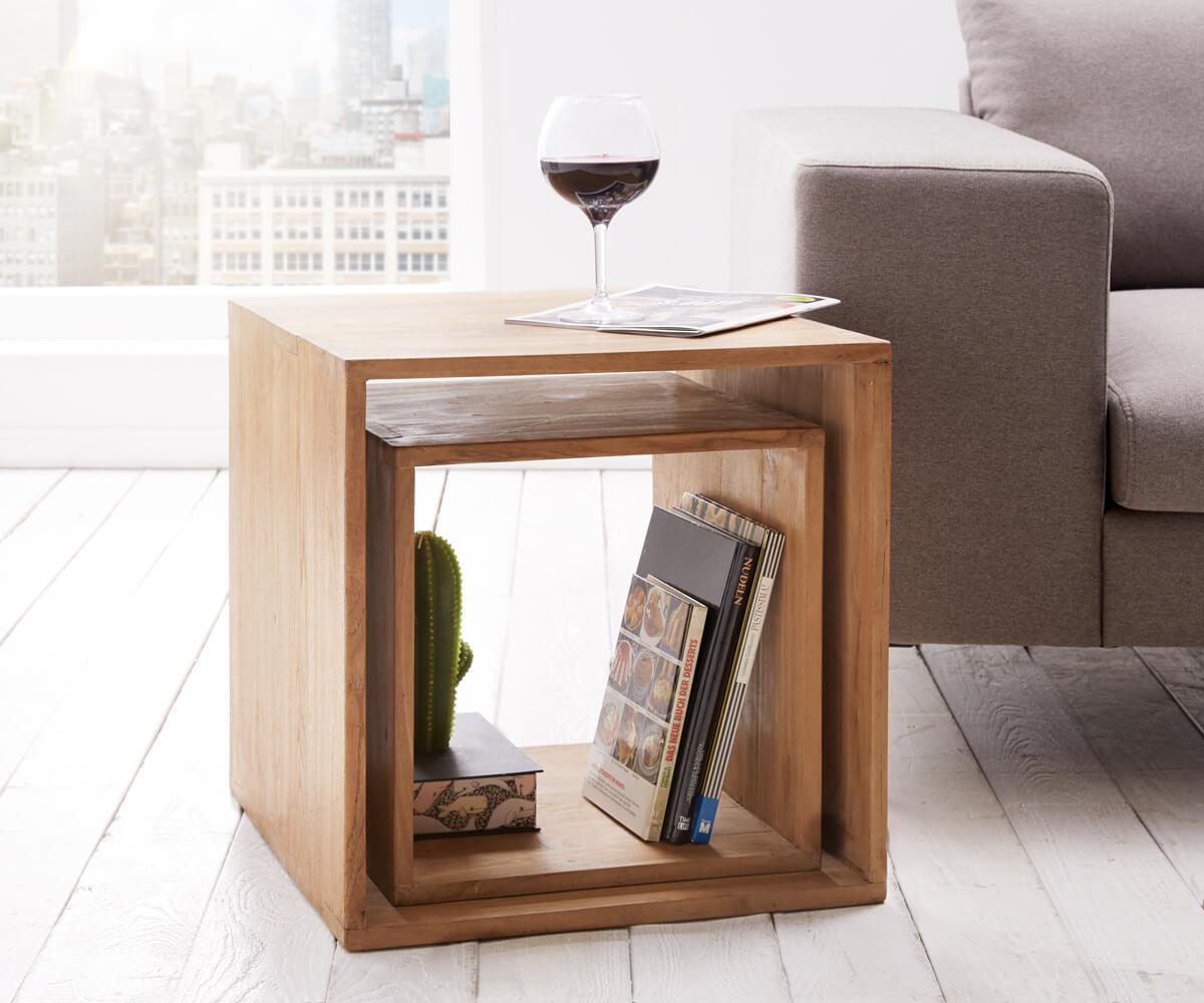 Cube Teva 50x50 cm Teakholz Natur 2er Set Massivholz