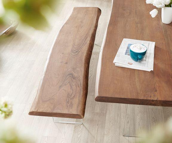 Zitbankje Live-Edge 195x40 cm acacia bruin glaspoten boomrand 2
