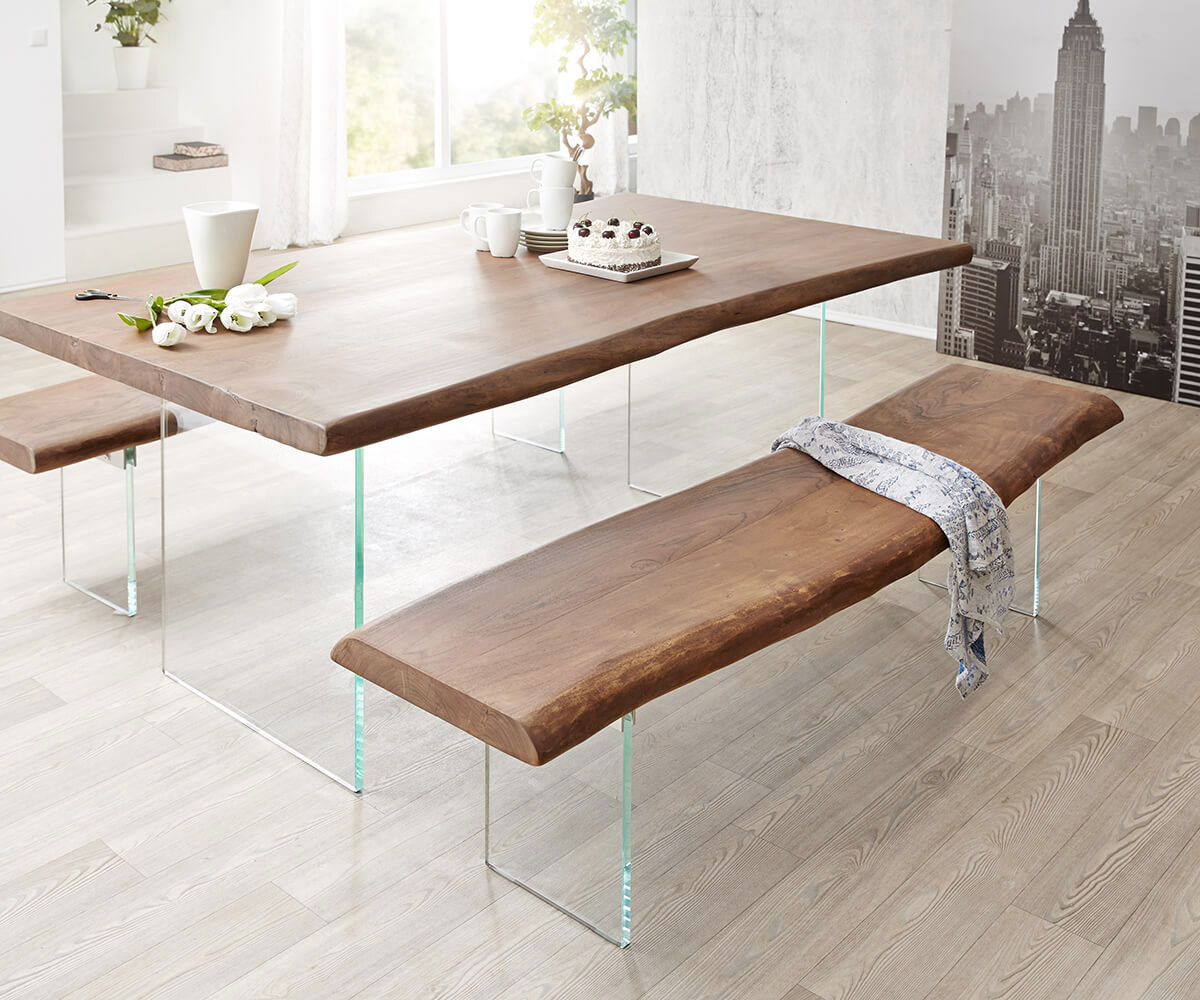 massivholzbank live edge akazie braun 135x40 glasbeine massiv baumkante bank. Black Bedroom Furniture Sets. Home Design Ideas