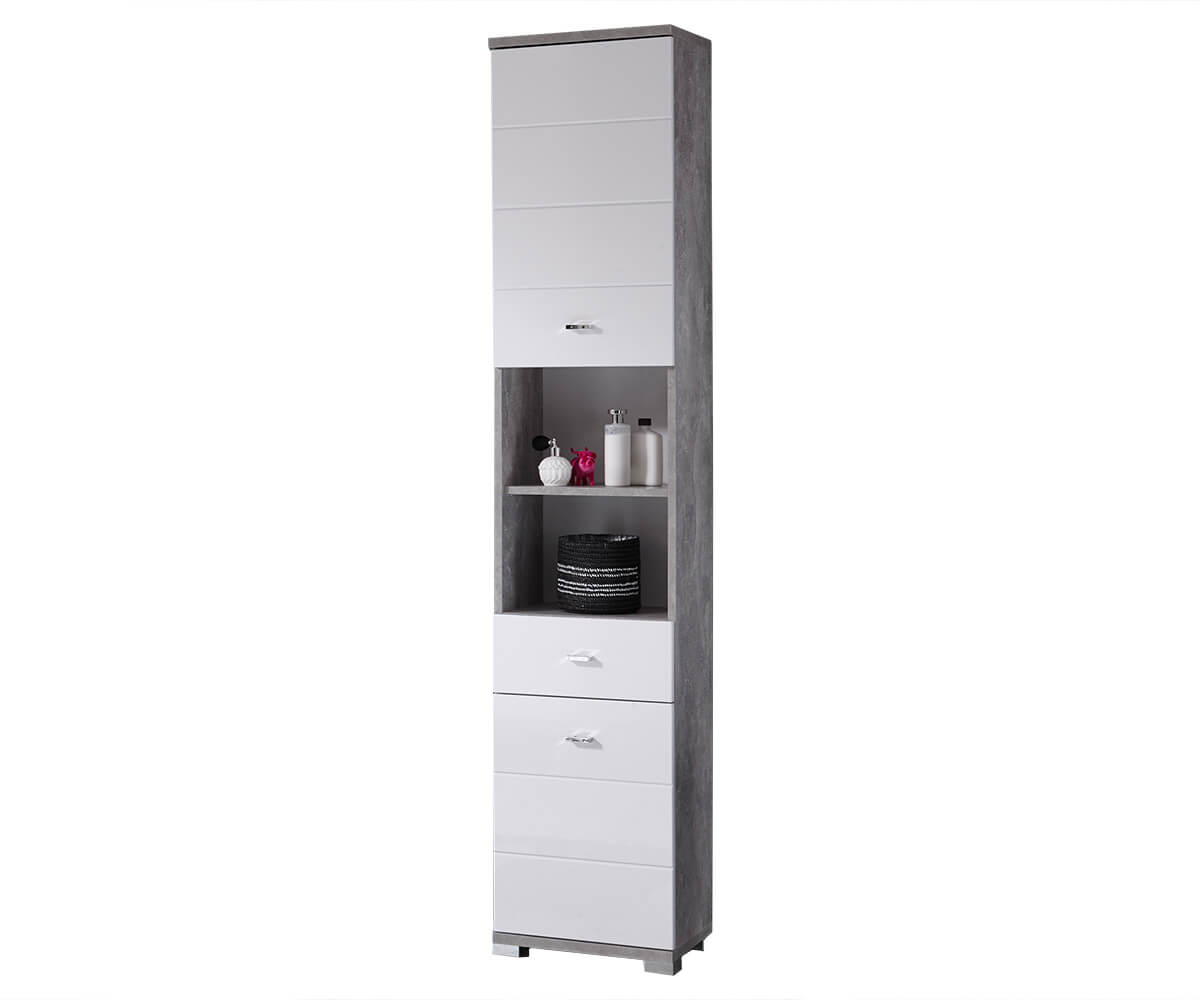 badschrank petre 38 cm weiss grau beton optik 2 t ren m bel badm bel. Black Bedroom Furniture Sets. Home Design Ideas