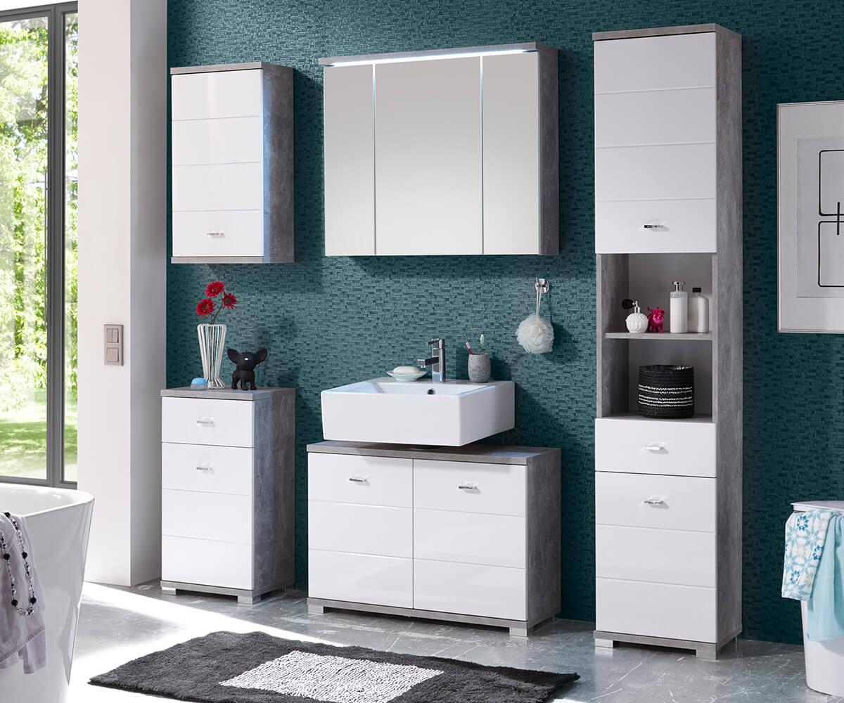 Badkamerkast Petre 38 cm wit grijs beton optiek 2 deuren
