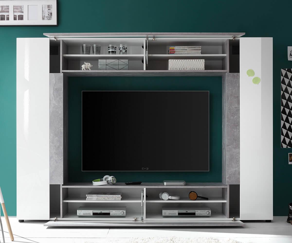 Anbauwand Ramea Weiss Hochglanz Grau 226 cm 2 Türen Beton Optik Wohnwand