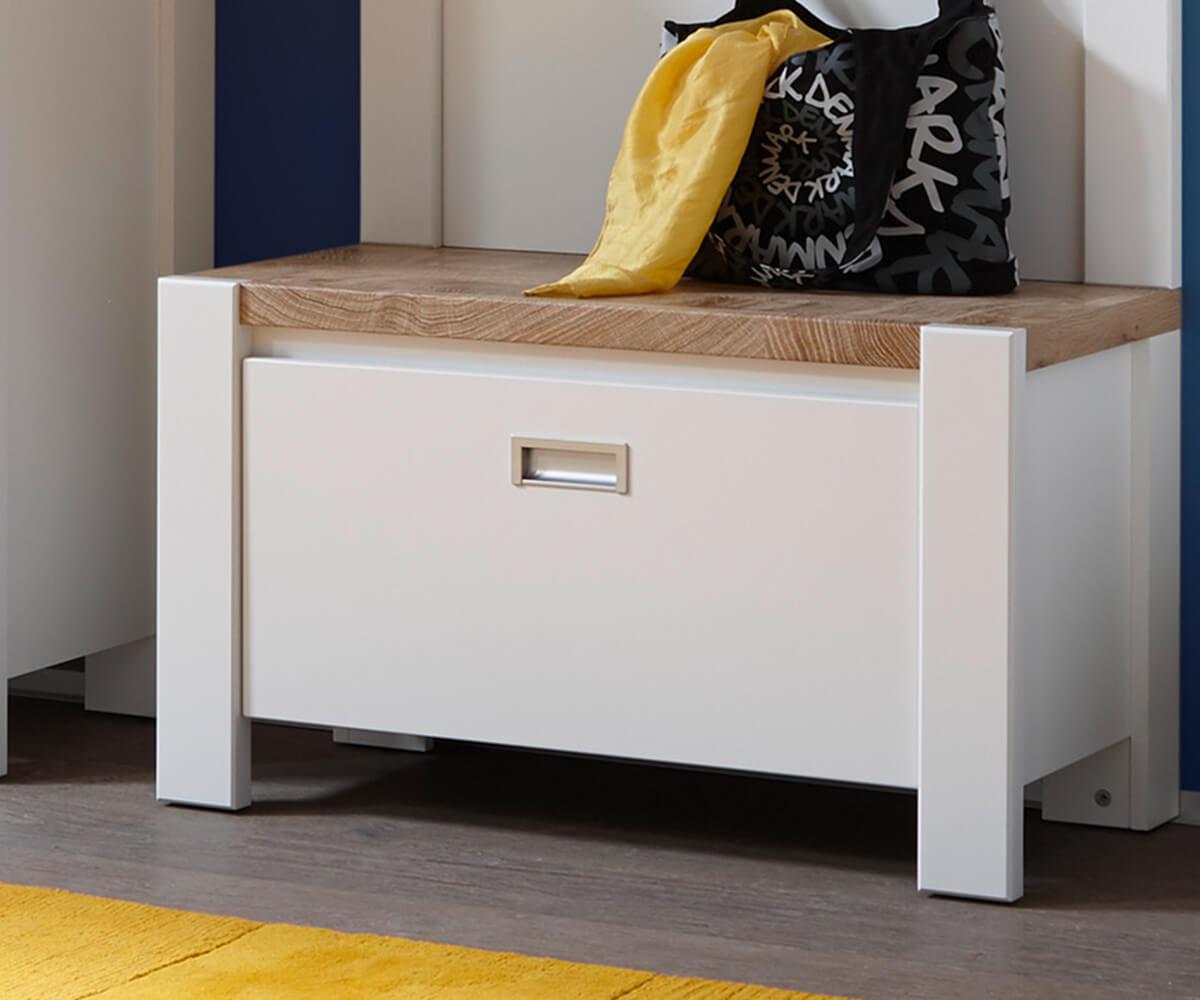 bank medine weiss 80 cm mit klappe und einlegeboden garderobenbank schuhschrank. Black Bedroom Furniture Sets. Home Design Ideas