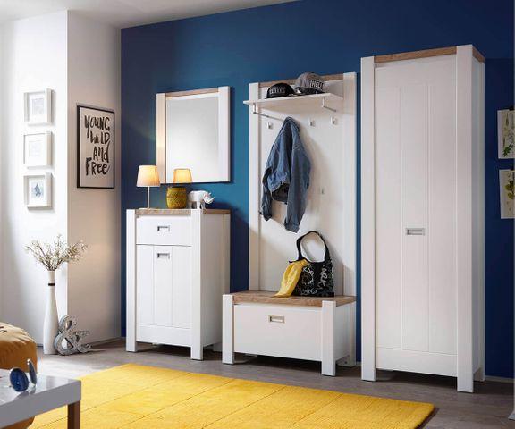 Garderobe-bank Medine 80 cm wit met een klep 2