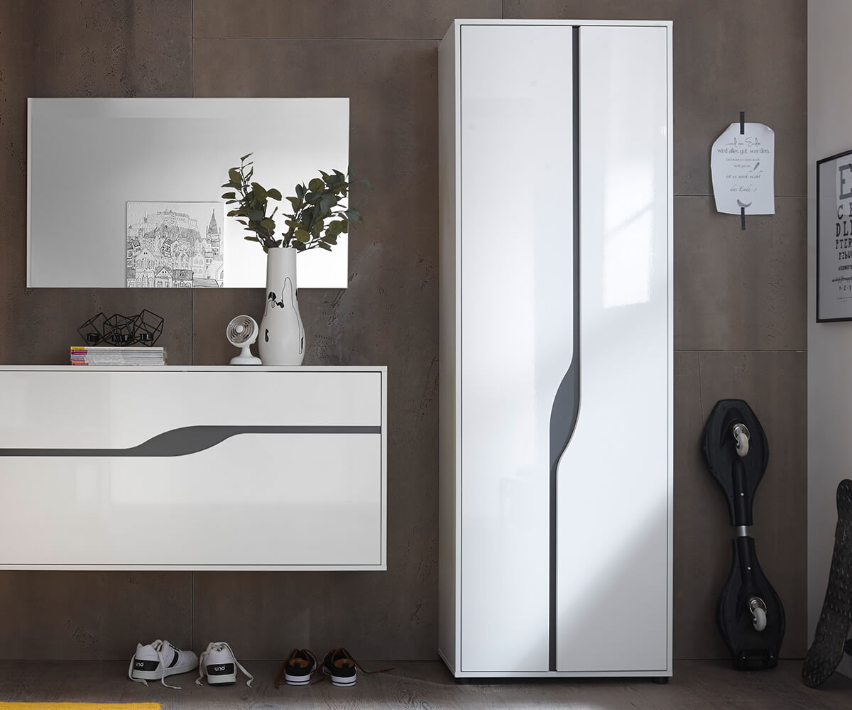garderobenschrank willa 65 cm weiss hochglanz mit 2 t ren m bel dielenm bel. Black Bedroom Furniture Sets. Home Design Ideas