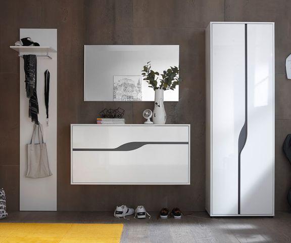 Garderobe-kast Willa 65 cm wit hoogglans met 2 deuren 3