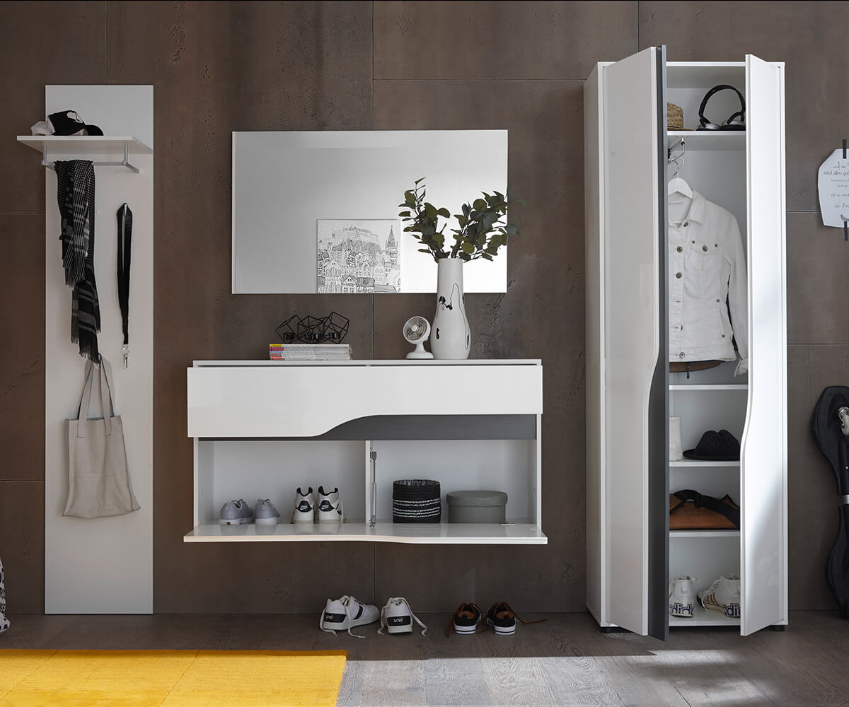 schuhschrank willa 120 cm weiss hochglanz klappe schublade m bel dielenm bel. Black Bedroom Furniture Sets. Home Design Ideas