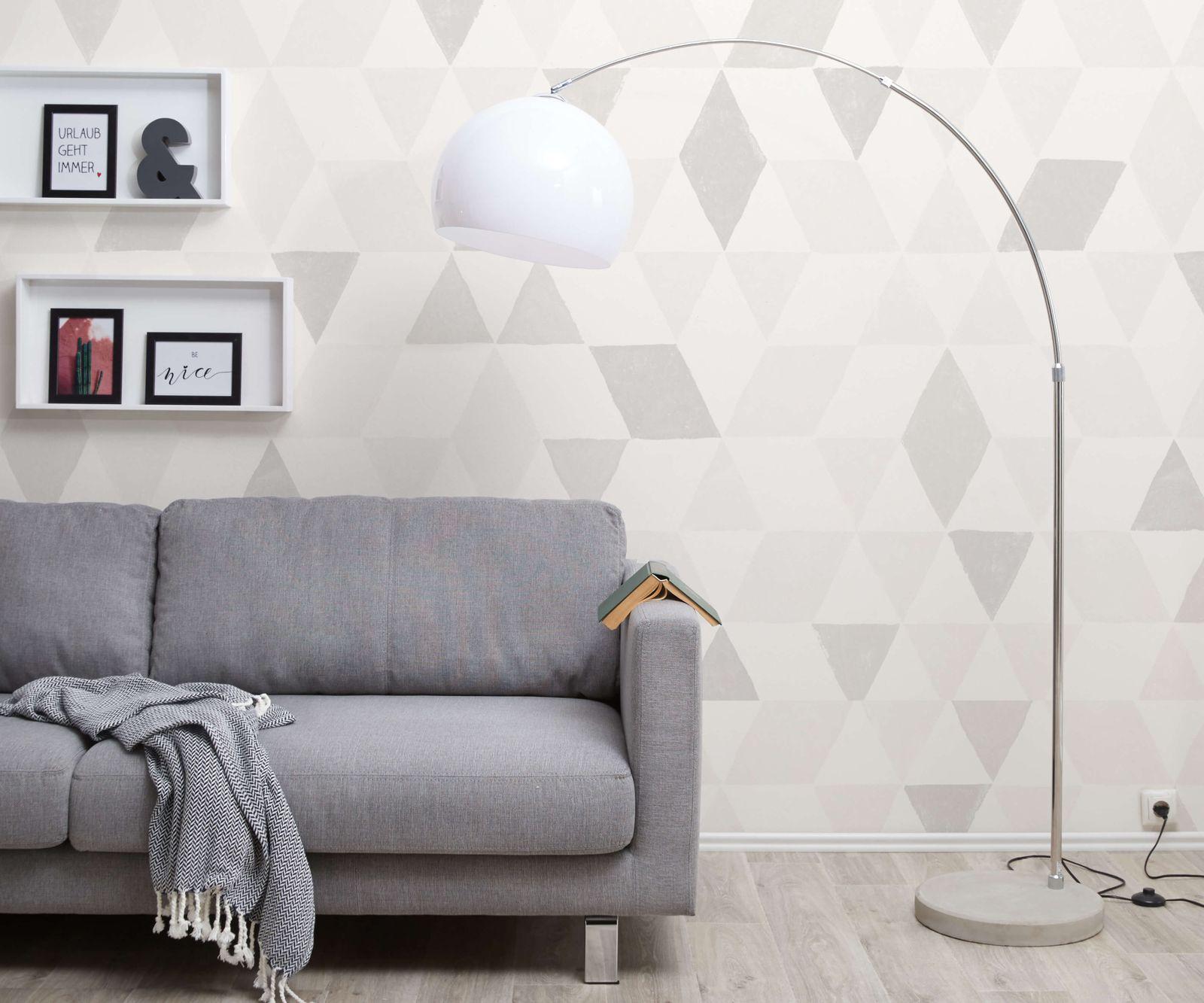 Booglamp Big-Deal Eco zilver wit betonnen voet in hoogte verstelbaar