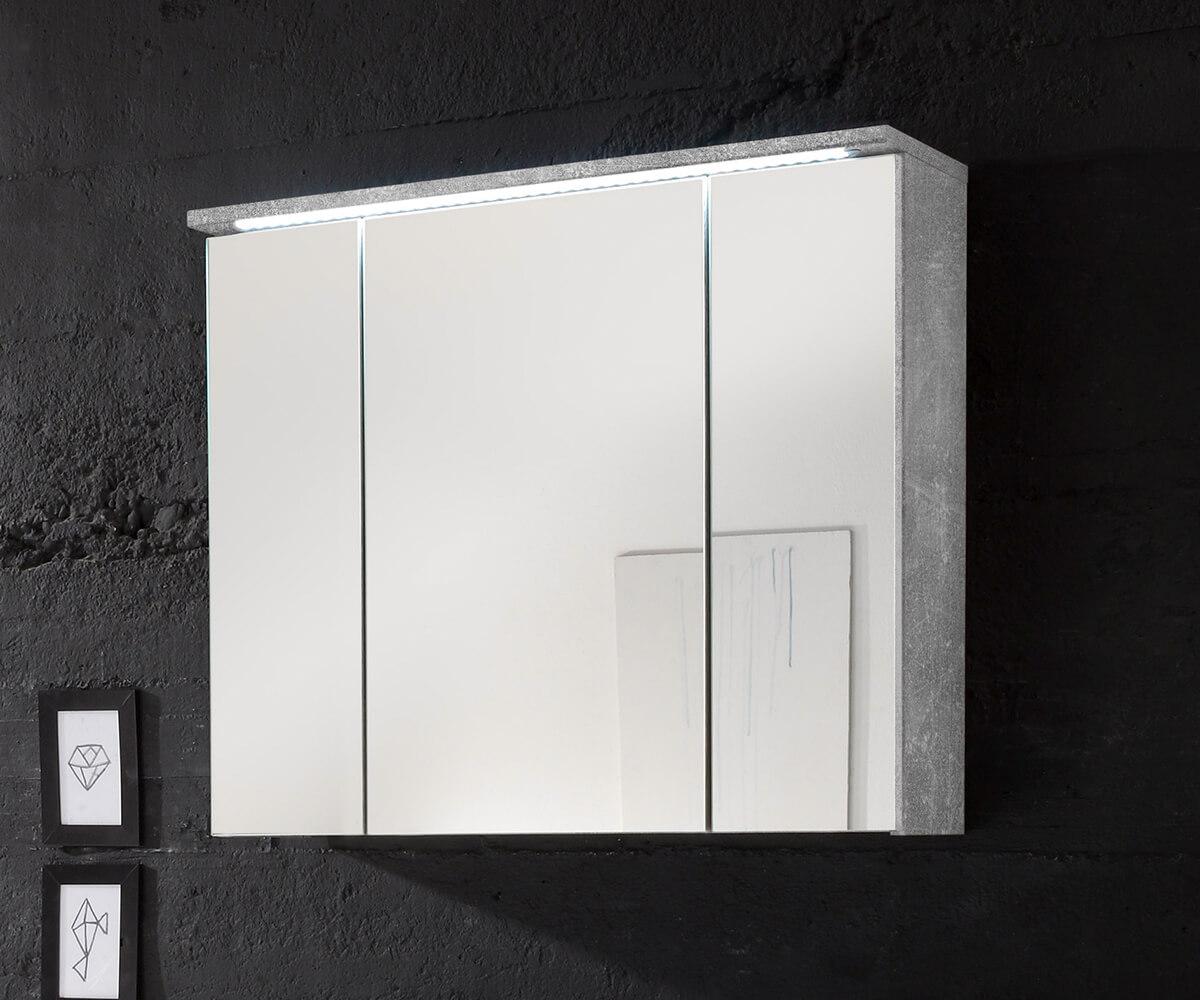 Spiegelschrank Sibyl 80 cm Grau Beton Optik LED Beleuchtung