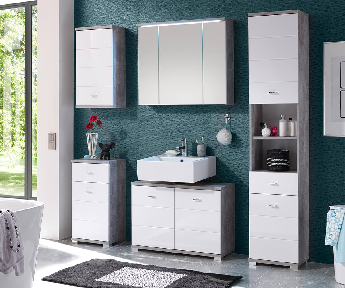 badezimmer petre weiss grau 200 cm beton optik 5 teilig mit led badm belset. Black Bedroom Furniture Sets. Home Design Ideas