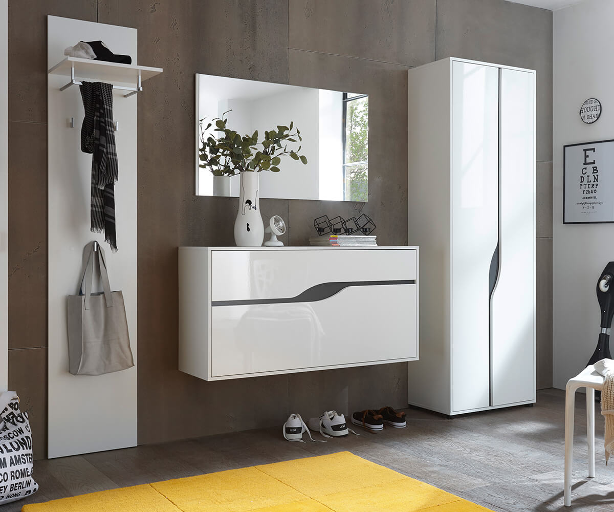 garderobe willa weiss hochglanz 265 cm spiegel hochschrank. Black Bedroom Furniture Sets. Home Design Ideas