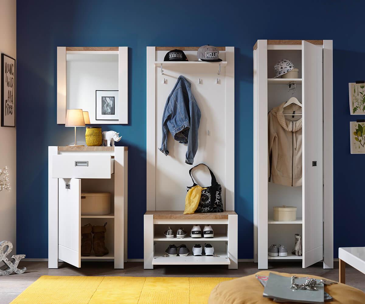 Garderobe Medine Weiss Matt 230 Cm Spiegel Hochschrank Hutablage