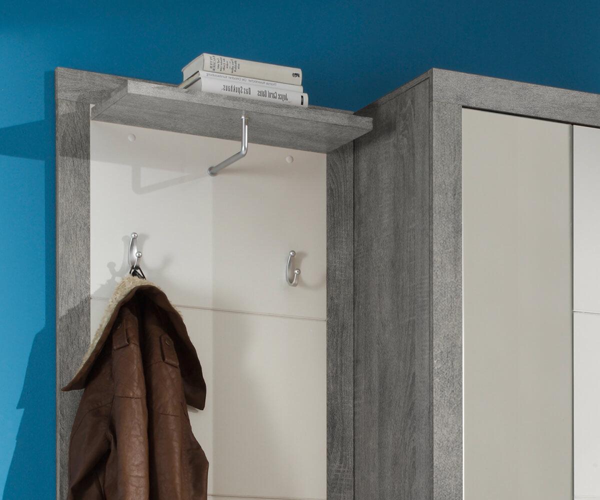 Garderobe Shandor Weiss Hochglanz Grau 120x195 Sitzbank
