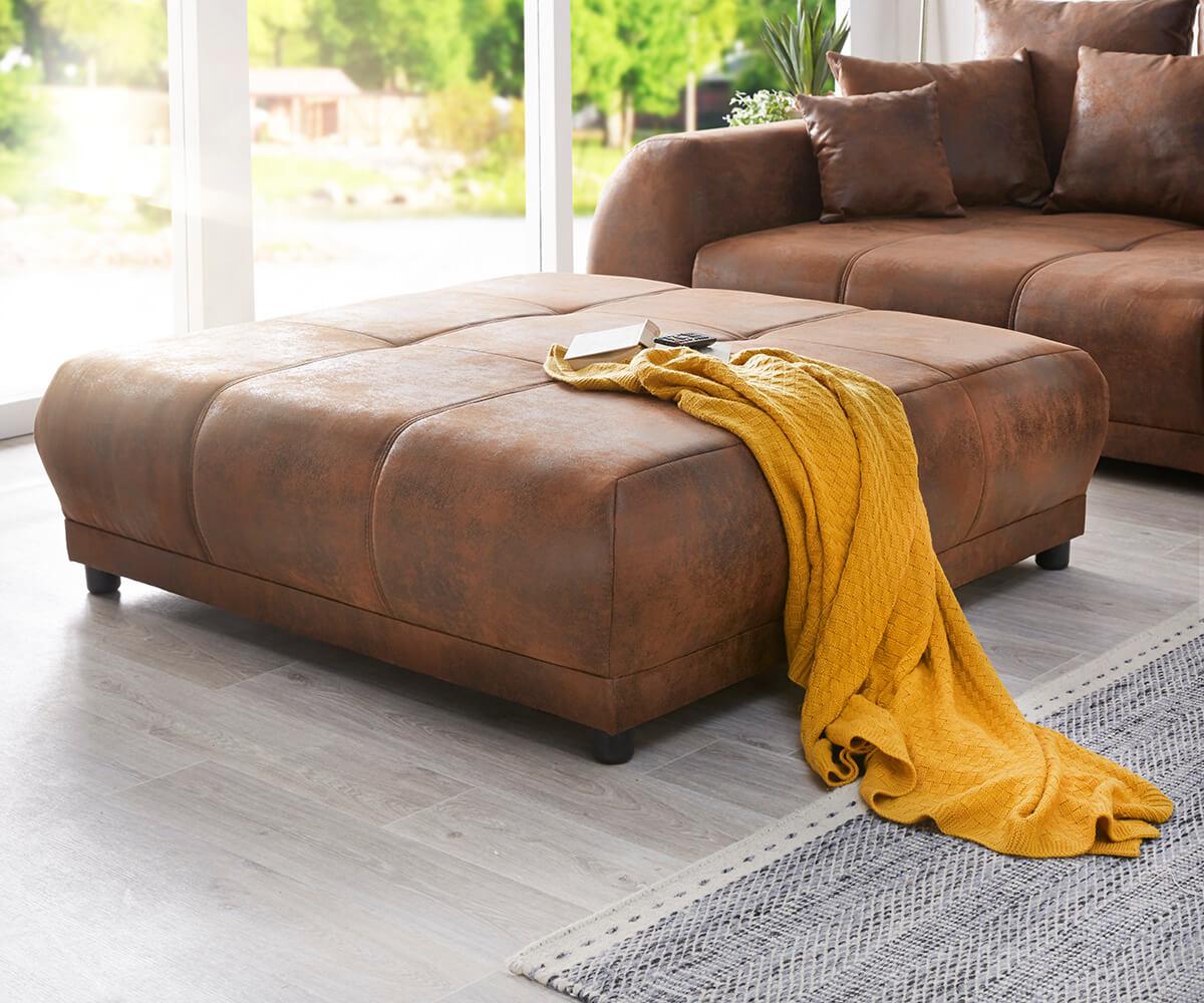 big sofa violetta 310x135 braun antik optik hocker kissen m bel sofas big sofas. Black Bedroom Furniture Sets. Home Design Ideas