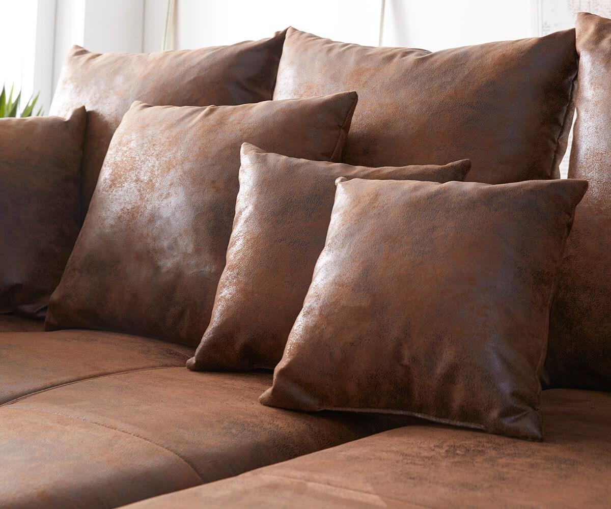 Bigsofa Violetta Braun 310 X 135 Cm Antik Optik Inklusive Hocker Kissen  Big Sofa [