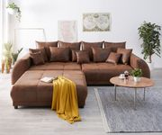 Bigsofa Violetta Braun 310 x 135 cm Antik Optik inklusive Hocker Kissen Big-Sofa [12478]