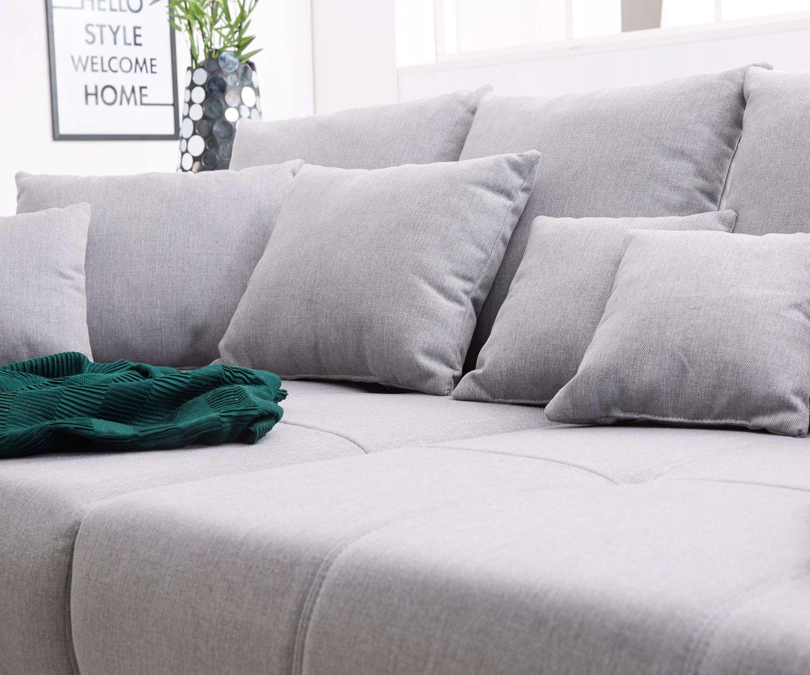 Bigsofa Violetta Grau 310x135 Cm Inklusive Hocker Und Kissen Big Sofa