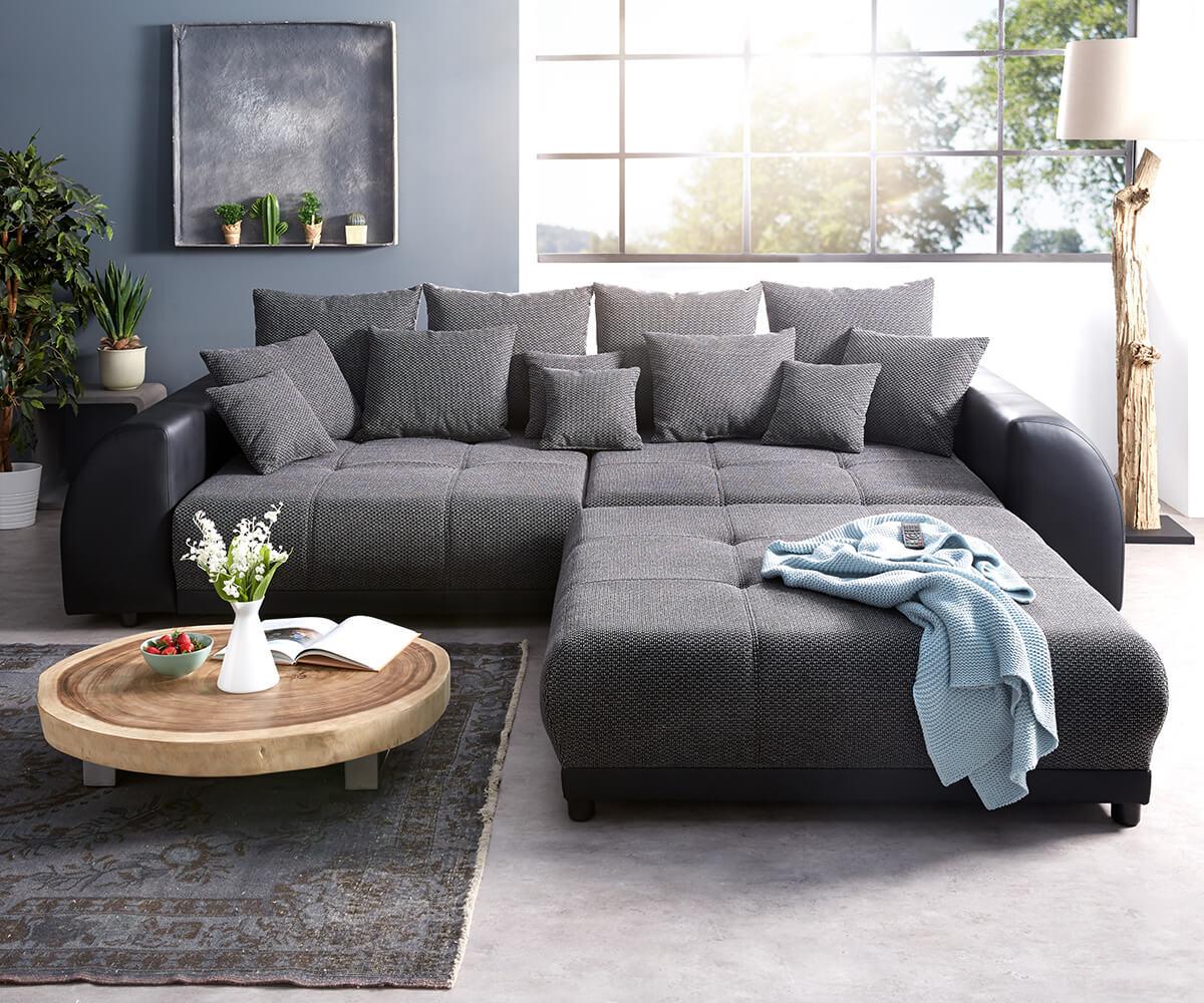 Big Sofa Violetta 310x135 Cm Schwarz Mit Hocker