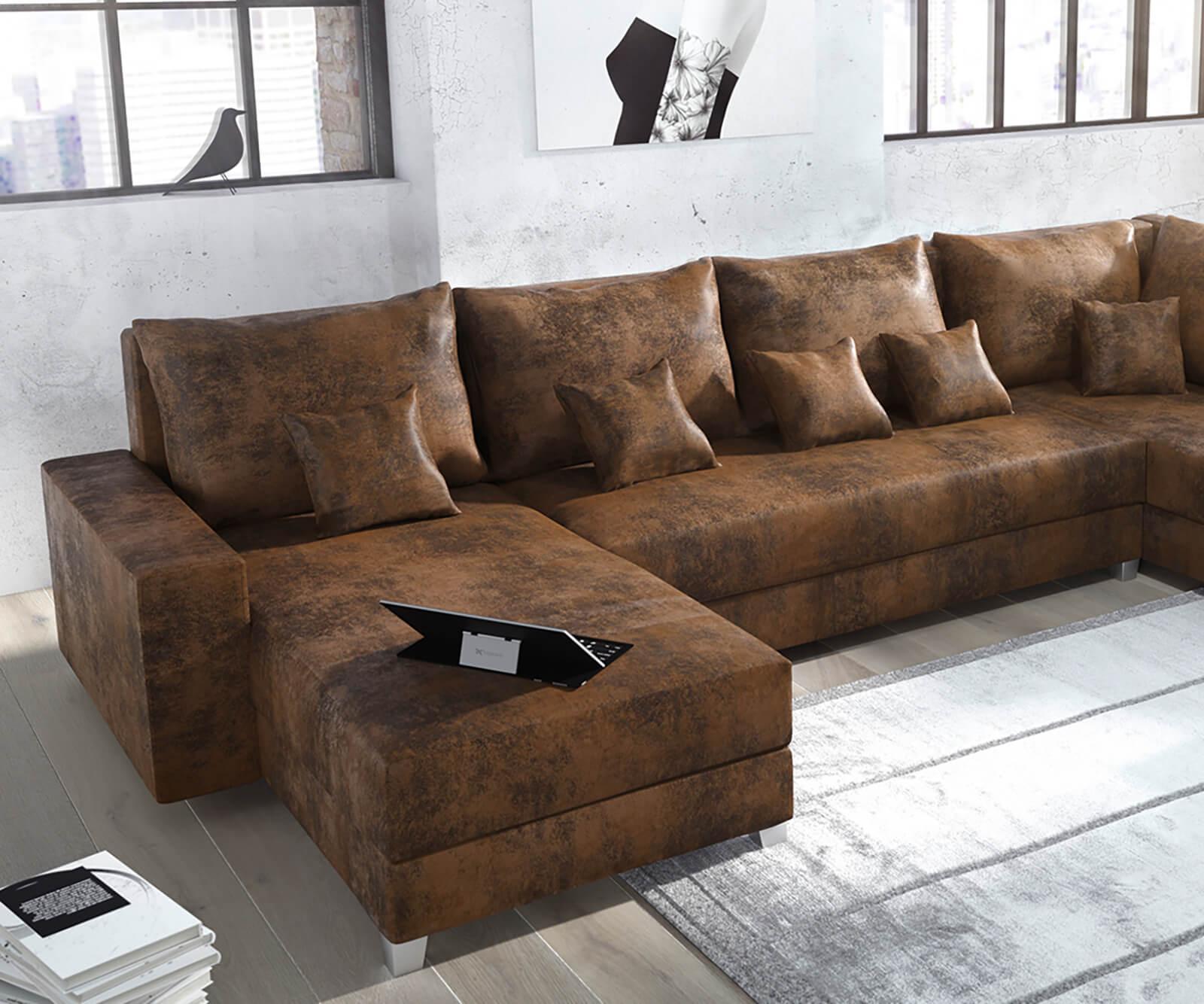 couch panama braun ottomane rechts longchair links wohnlandschaft modular. Black Bedroom Furniture Sets. Home Design Ideas