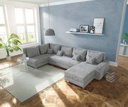 Couch Panama Hellgrau Ottomane links Longchair rechts Wohnlandschaft modular [12490]