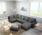 Couch Panama Schwarz Ottomane links Longchair rechts mit Hocker Wohnlandschaft modular [12493]