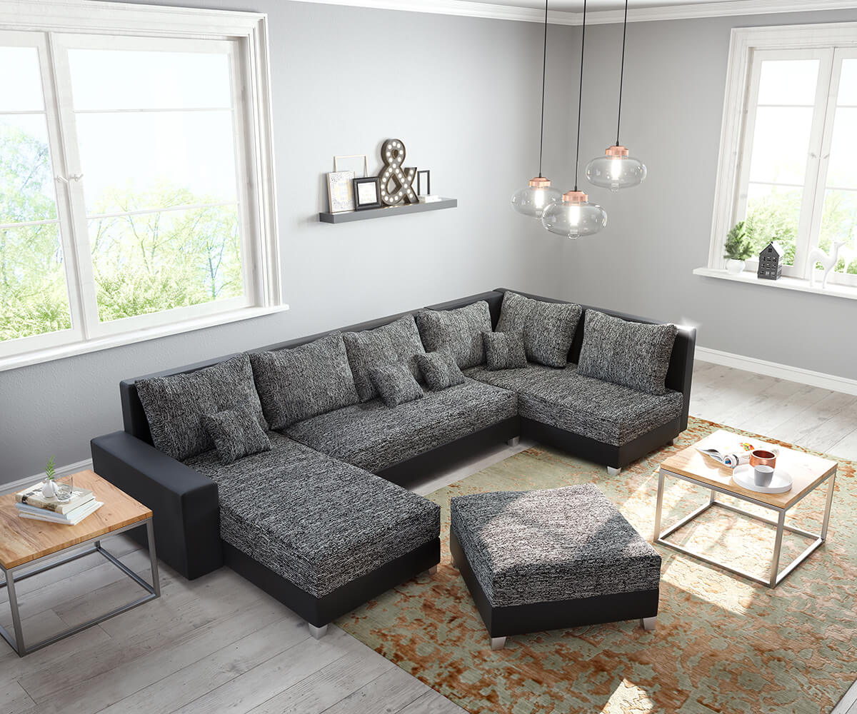 couch panama schwarz ottomane rechts longchair links mit hocker wohnlandschaft modular. Black Bedroom Furniture Sets. Home Design Ideas