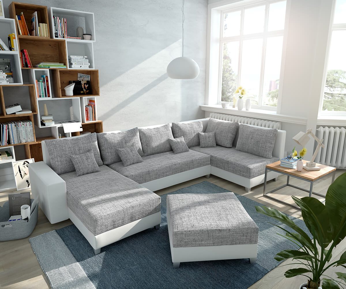 994e538c23a56a Couch Panama Hellgrau Weiss Ottomane rechts Longchair links Hocker  Wohnlandschaft