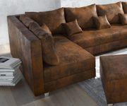 Couch Panama Braun mit Hocker Wohnlandschaft modular [12501]