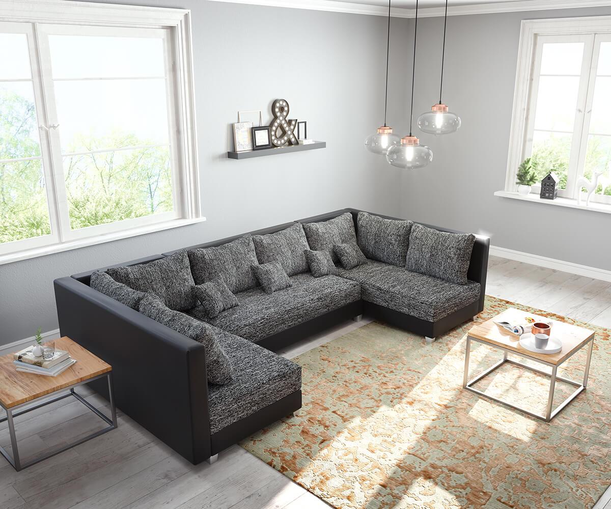 Wohnlandschaft Panama Schwarz Modulsofa Möbel Sofas
