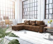 Couch Panama Braun Longchair variabel Ecksofa modular [12510]