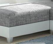 Couch Panama Hellgrau Weiss Longchair variabel mit Hocker Ecksofa modular [12515]