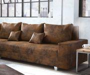 Couch Panama Braun Ottomane links mit Hocker Ecksofa modular [12517]