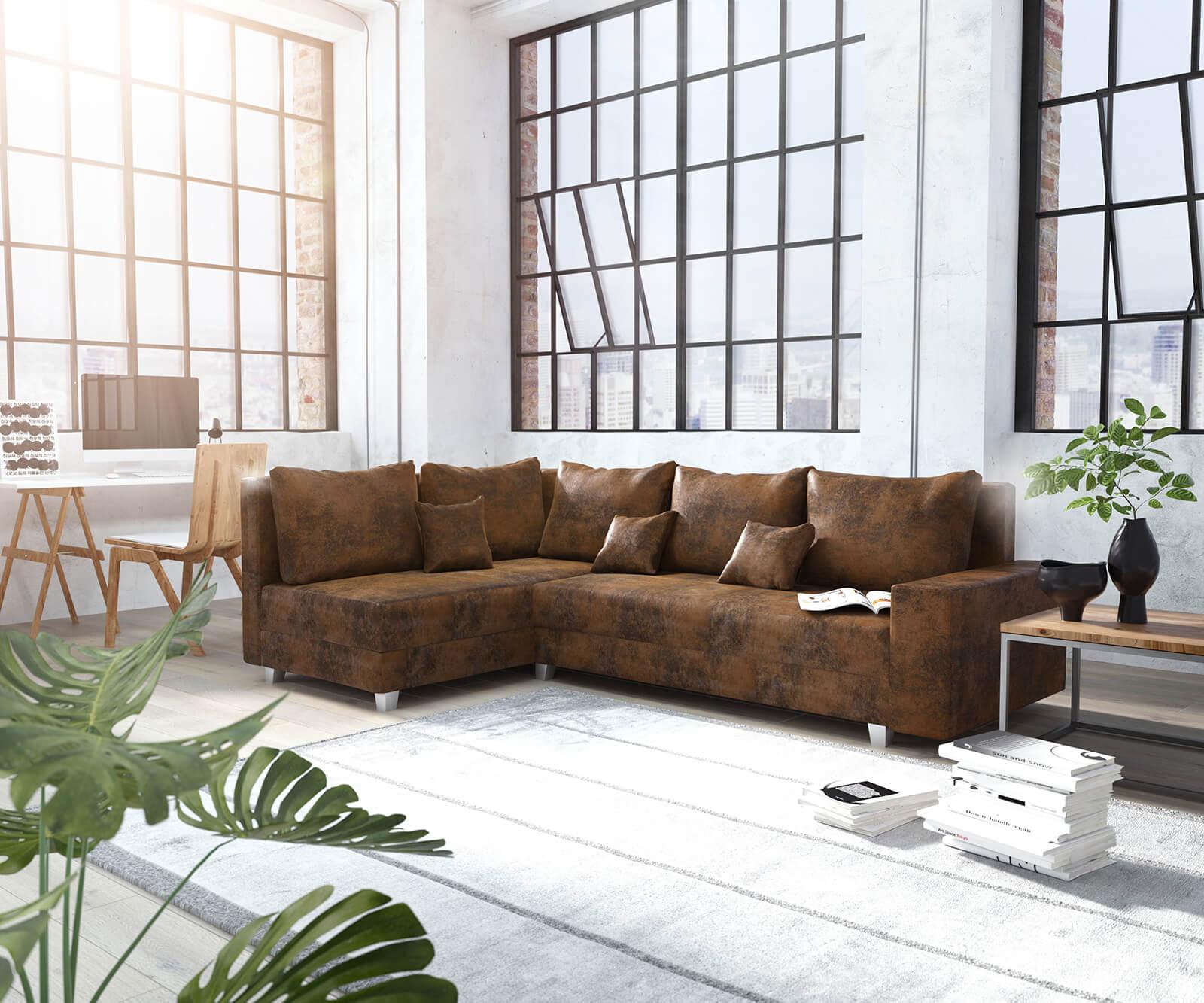 ecksofa panama braun ottomane links modulsofa m bel sofas ecksofas. Black Bedroom Furniture Sets. Home Design Ideas