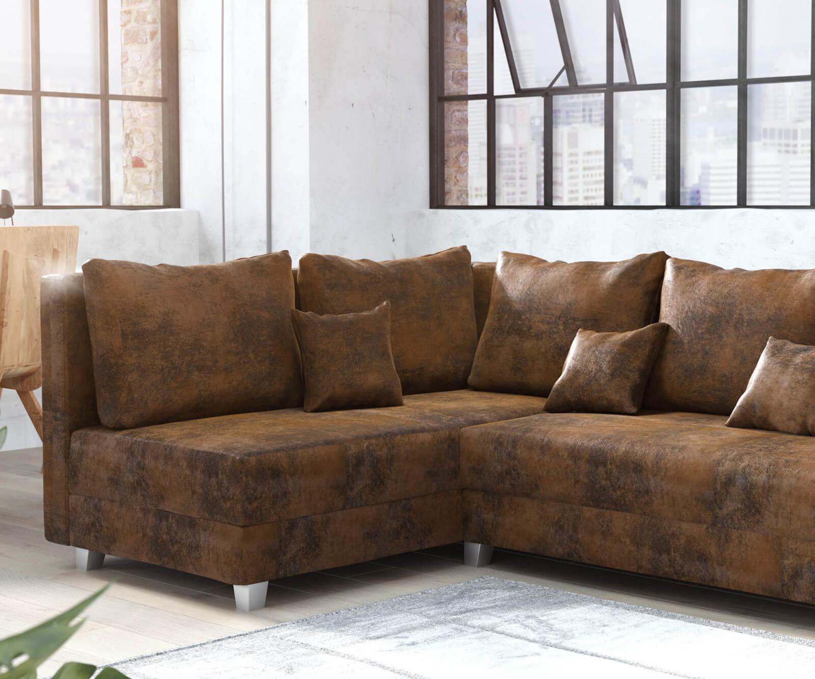 Ecksofa panama braun ottomane links modulsofa m bel sofas for Ecksofa ottomane