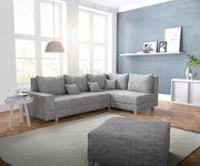 Couch Panama Hellgrau Ottomane rechts mit Hocker Ecksofa modular [12523]