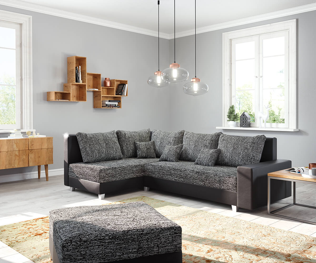 ecksofa panama schwarz ottomane links mit hocker modulsofa. Black Bedroom Furniture Sets. Home Design Ideas