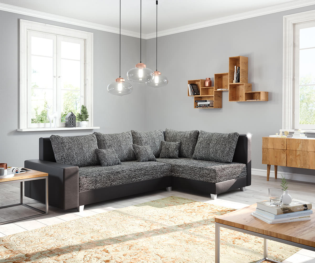 ecksofa panama schwarz ottomane rechts modulsofa m bel sofas ecksofas. Black Bedroom Furniture Sets. Home Design Ideas