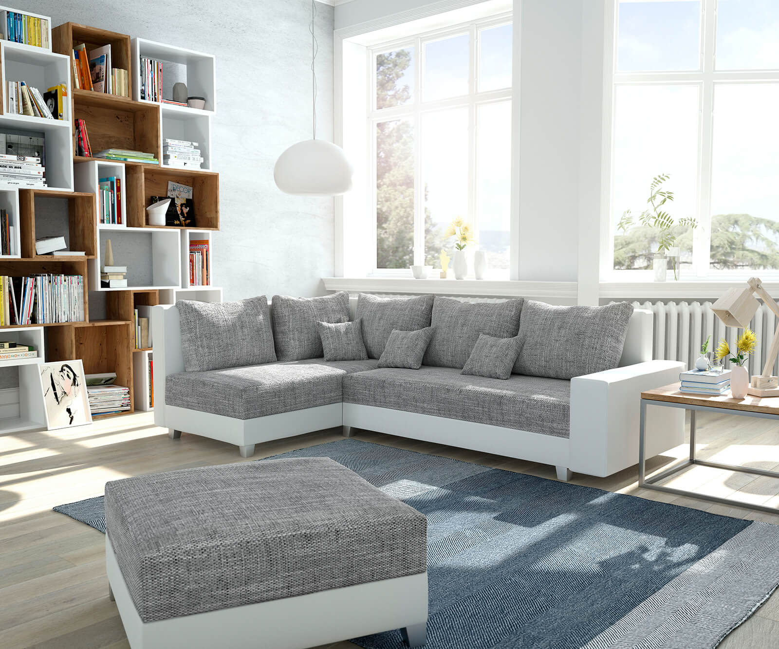 ecksofa panama hellgrau weiss ottomane links mit hocker modulsofa m bel sofas ecksofas. Black Bedroom Furniture Sets. Home Design Ideas