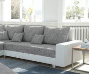 Couch Panama Hellgrau Weiss Ottomane links mit Hocker Ecksofa modular [12529]