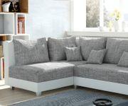Couch Panama Hellgrau Weiss Ottomane links Ecksofa modular [12530]