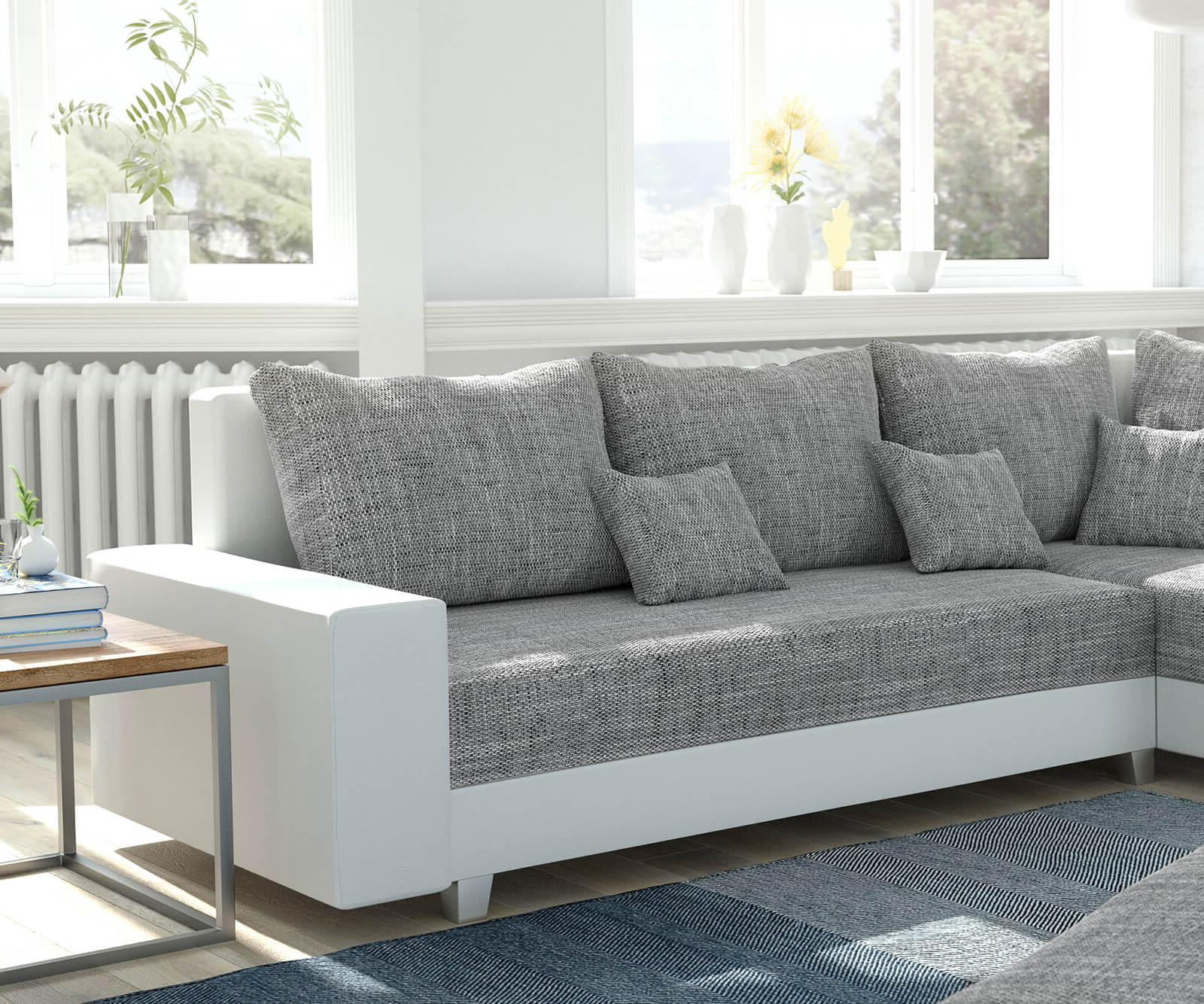 couch panama hellgrau weiss ottomane rechts mit hocker ecksofa modular. Black Bedroom Furniture Sets. Home Design Ideas