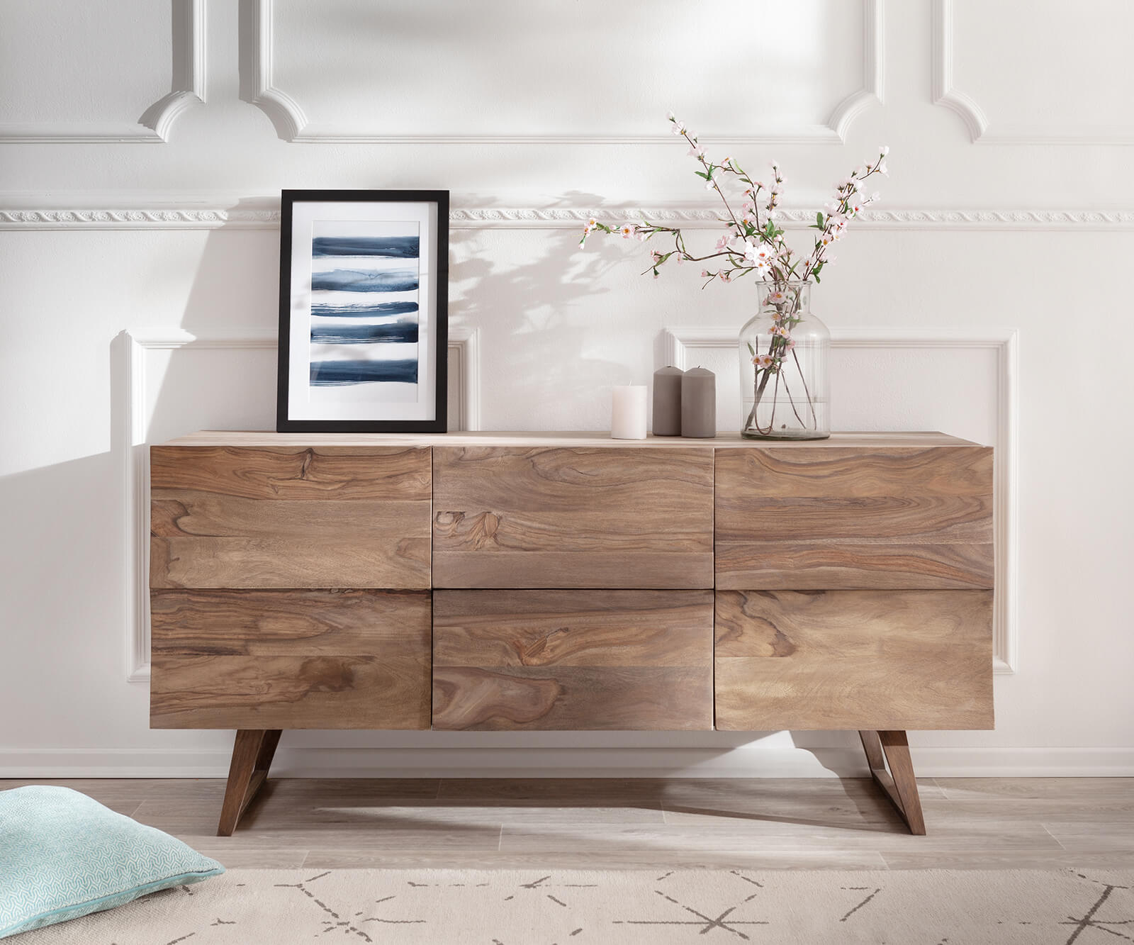 Design Sideboard Wyatt 150 Cm Sheesham Natur 2 Turen Mobel Kommoden
