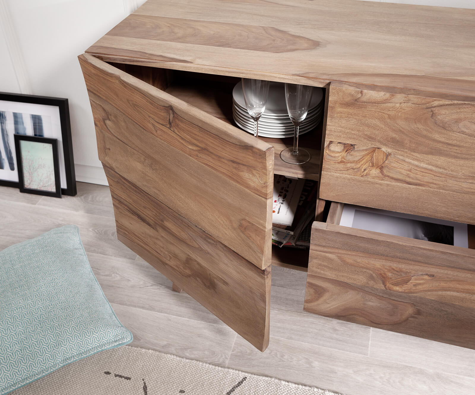 Design Sideboard Wyatt 150 Cm Sheesham Natur 2 Turen Mobel Kommoden