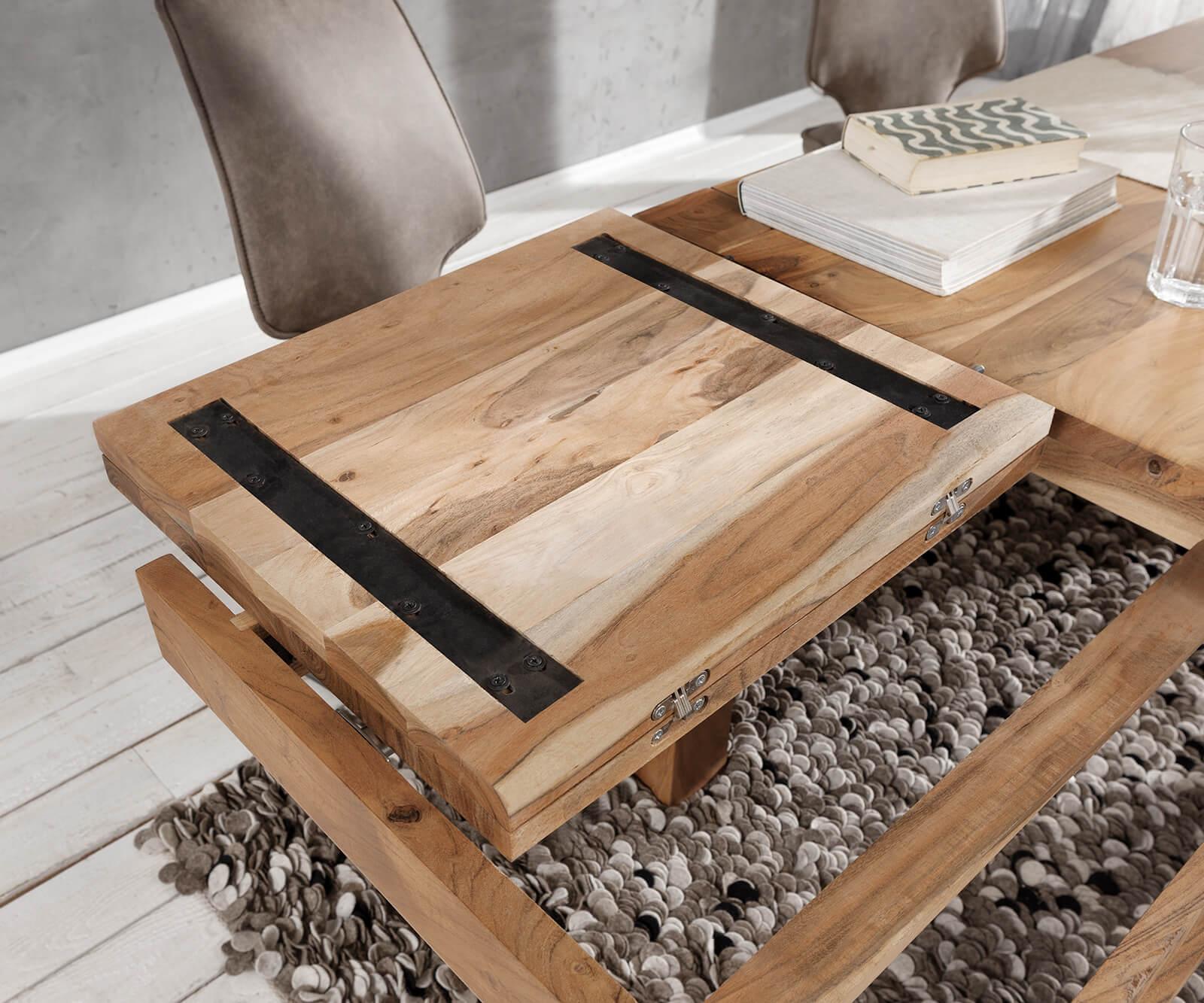 Esszimmertisch Indra Akazie Natur 50/50x50 cm Massivholz