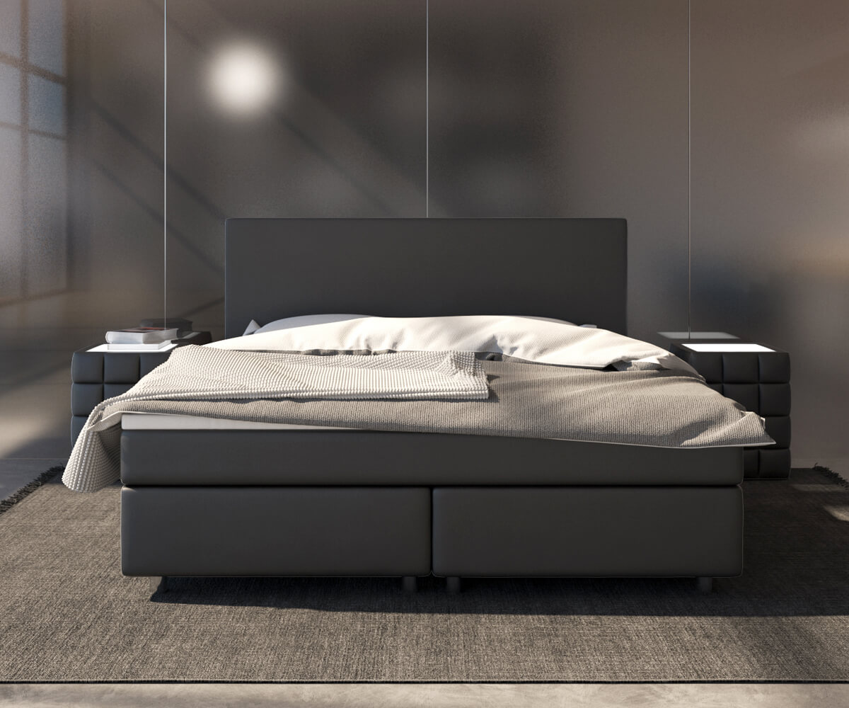 boxspringbett cloud 140x200 cm schwarz topper und matratze. Black Bedroom Furniture Sets. Home Design Ideas