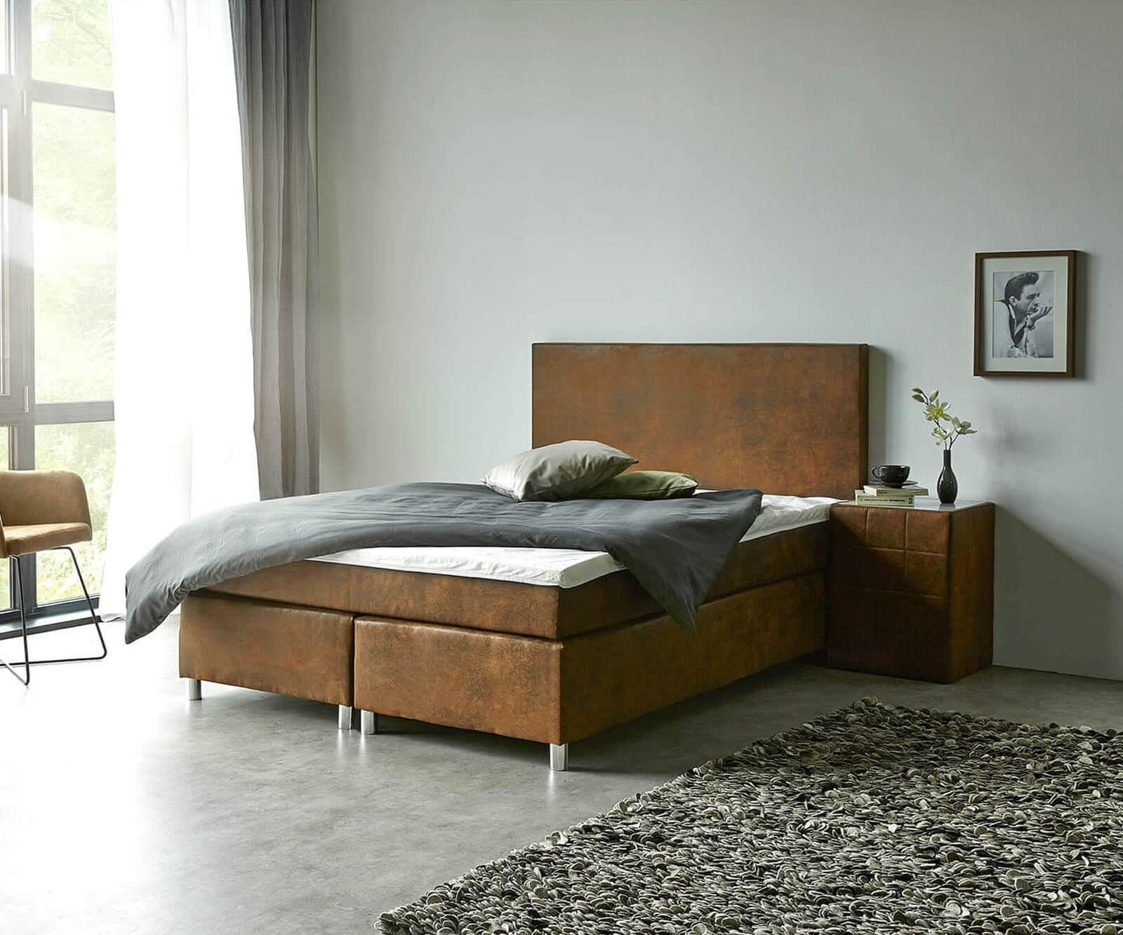 DELIFE Boxspringbett Cloud 140x200 cm Braun Topper und Matratze Microvelours, Boxspringbetten