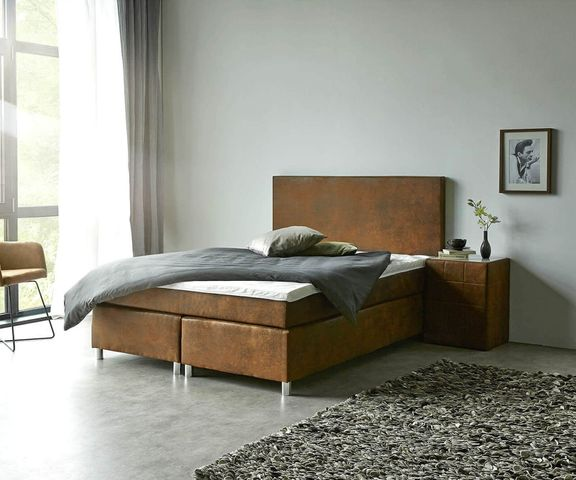 Boxspring-bed Cloud 140x200 cm bruin Topper en matras 1