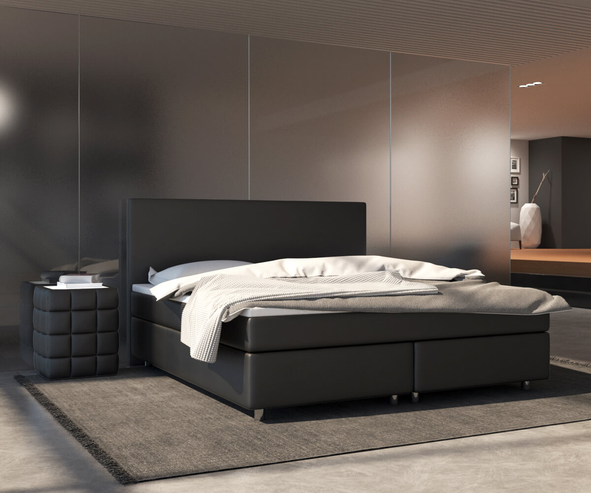 boxspringbett cloud 180x200 cm schwarz topper und matratze. Black Bedroom Furniture Sets. Home Design Ideas