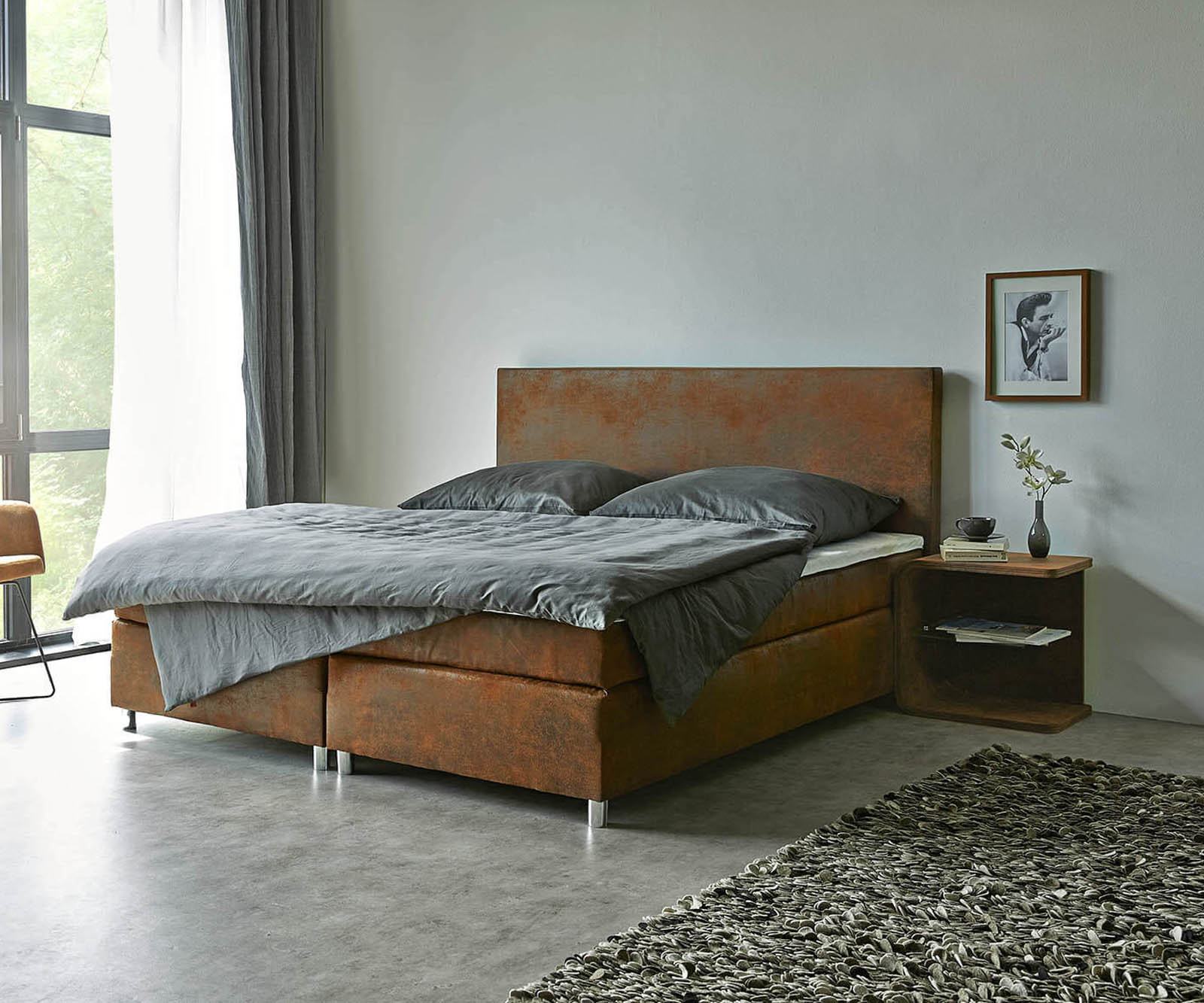 Boxspringbett Cloud 180x200 cm Braun Topper und Matratze Microvelours